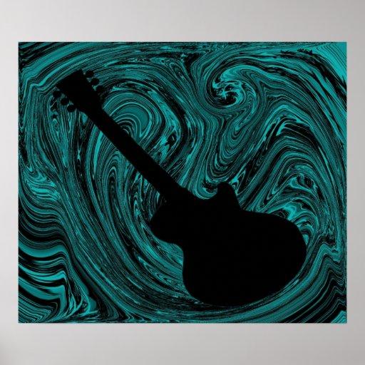El extracto remolina poster de la guitarra, trullo