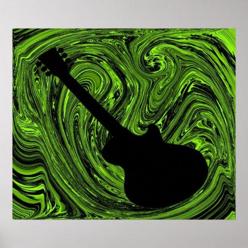El extracto remolina poster de la guitarra, verde