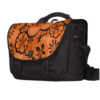 El extracto retro florece al viajero del naranja d bolsa para ordenador