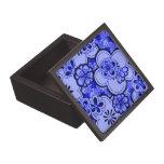 El extracto retro florece la caja azul del recuerd cajas de regalo de calidad