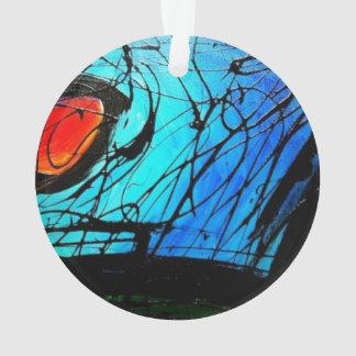 El extracto rojo y azul enrrollado circunda arte