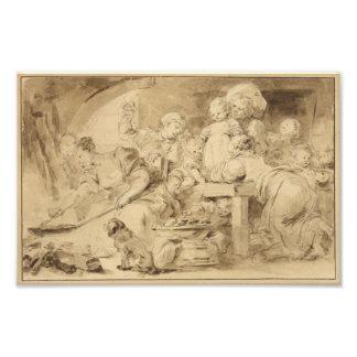 El fabricante de la crepe de Jean-Honore Fragonard Arte Fotografico