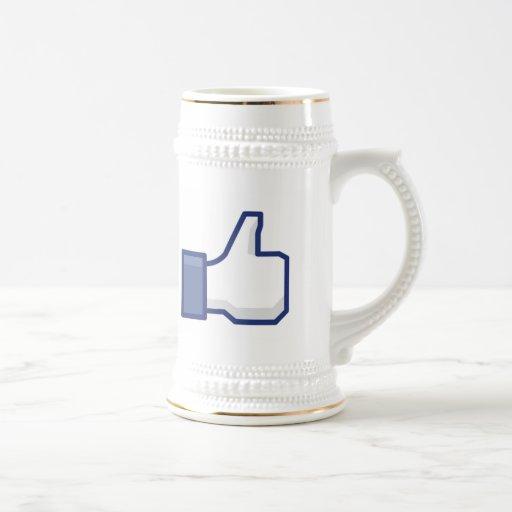 el facebook TIENE GUSTO del pulgar encima de la Jarra De Cerveza