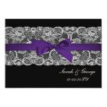 El falso boda negro púrpura del cordón y de la invitacion personalizada