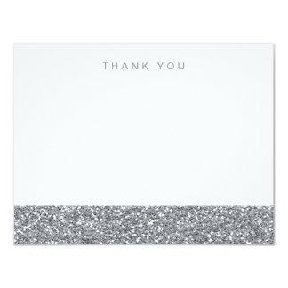 El falso brillo de plata gris le agradece invitación 10,8 x 13,9 cm