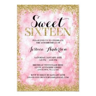 """El falso brillo del oro rosado enciende cumpleaños invitación 5"""" x 7"""""""