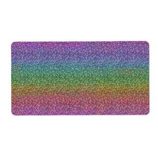 El falso brillo fino chispea arco iris brillante etiqueta de envío