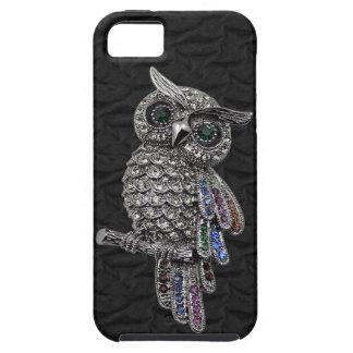 El falso búho de plata y las joyas ennegrecen el i iPhone 5 carcasa