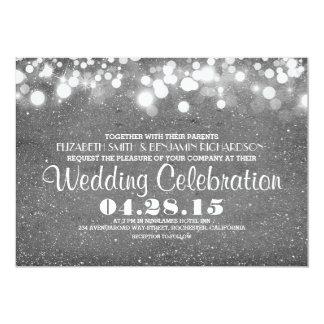 el falso casarse de plata de las luces de la invitación 12,7 x 17,8 cm