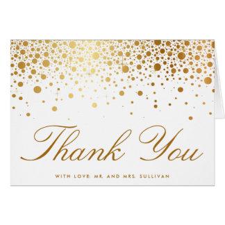El falso confeti de la hoja de oro elegante le tarjeta de felicitación