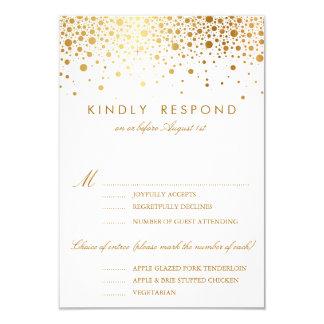 El falso confeti de la hoja de oro puntea casar la invitación 8,9 x 12,7 cm