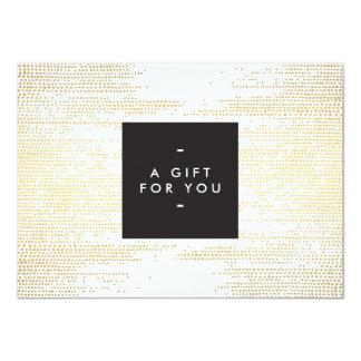 El falso confeti elegante del oro puntea el vale invitación 11,4 x 15,8 cm