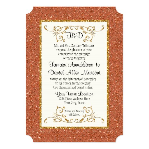 El falso estilo del boleto del damasco del brillo invitación 12,7 x 17,8 cm