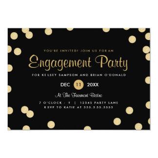 El falso fiesta de compromiso del confeti del oro invitación 12,7 x 17,8 cm