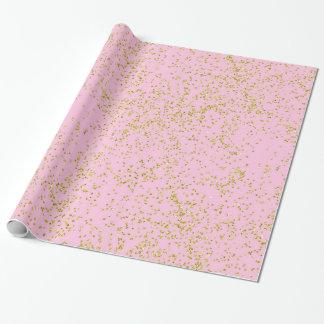 El falso fondo del rosa de la hoja de oro asperja papel de regalo