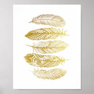 El falso oro empluma el poster tribal de la