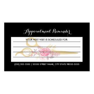 El falso oro Scissors la cita floral rosada del Tarjetas De Visita