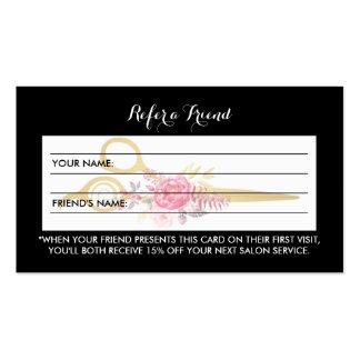 El falso oro Scissors la remisión floral rosada Tarjetas De Visita
