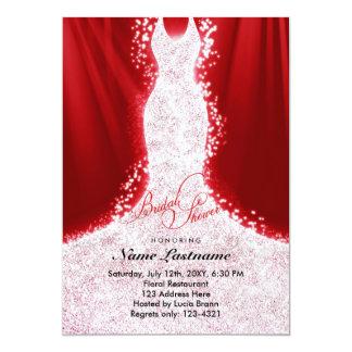 """El falso vestido del brillo en ducha nupcial roja invitación 5"""" x 7"""""""
