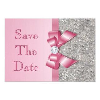 """El falsos arco y diamantes rosados ahorran la invitación 3.5"""" x 5"""""""