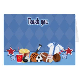 El fan de deportes (azul) doblado le agradece tarjeta pequeña