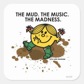 El fango la música la locura pegatina cuadradas personalizada