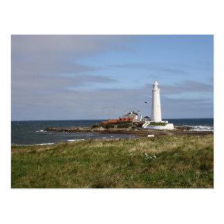 El faro de St Mary en postal de la bahía de Whitle