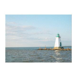 El faro en el lago Ontario envolvió la lona Impresiones En Lienzo Estiradas