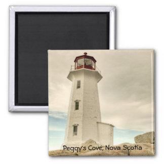 El faro, la ensenada de Peggy, Nueva Escocia. Imán Cuadrado