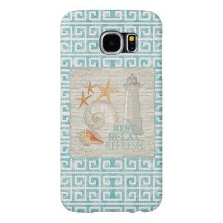 El faro Shell de la acuarela vara estrellas de mar Fundas Samsung Galaxy S6