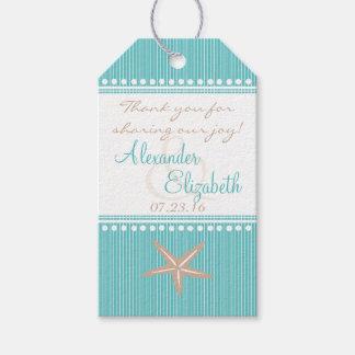 El favor azul de la huésped del boda de playa de etiquetas para regalos