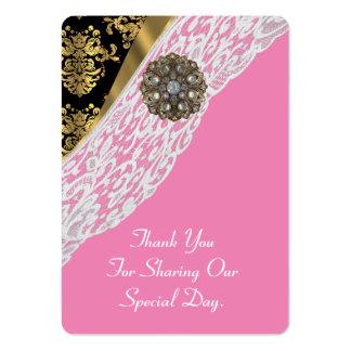 El favor blanco del boda del cordón del oro rosado tarjetas de visita grandes