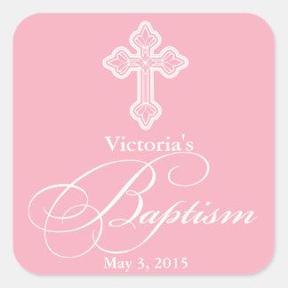 El favor de fiesta del bautizo del bautismo pegatina cuadrada