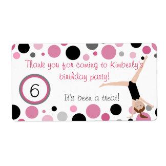 El favor de fiesta gimnástico etiqueta rosa gris etiquetas de envío