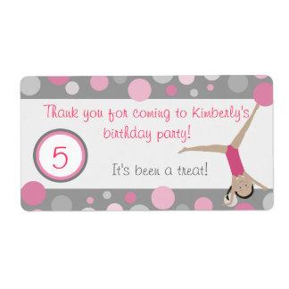 El favor de fiesta gimnástico etiqueta rosa y gris etiqueta de envío