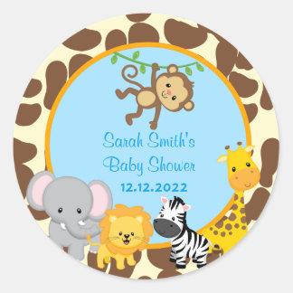 El favor de la fiesta de bienvenida al bebé del pegatina redonda