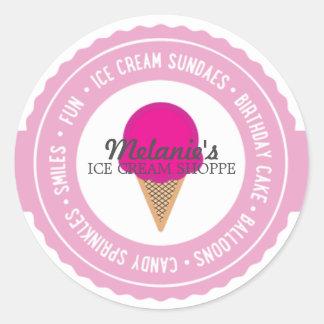 el favor de la FIESTA de CUMPLEAÑOS del helado Pegatina Redonda