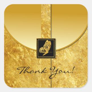 El favor de oro del boda de la mariposa le colcomanias cuadradas personalizadas