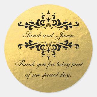 El favor del boda de la mirada de la hoja de oro pegatina redonda