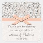 El favor del boda del cordón del vintage del calcomanía cuadradas personalizadas