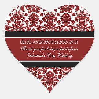 El favor del boda del el día de San Valentín marca Pegatina En Forma De Corazón