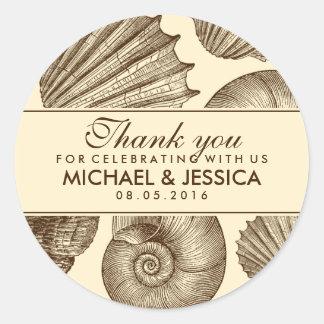 El favor del boda del Seashell del vintage le Pegatina Redonda