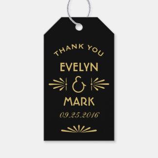 El favor del boda marca estilo del art déco con etiquetas para regalos