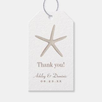 El favor del boda marca estrellas de mar neutrales etiquetas para regalos