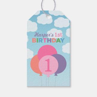 El favor del cumpleaños del chica marca diseño de etiquetas para regalos