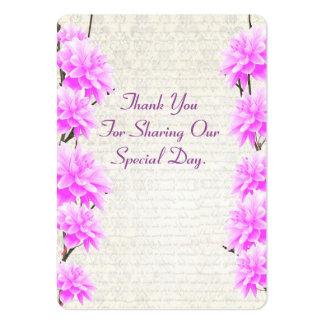 El favor floral de color de malva rosado del boda tarjetas de visita grandes