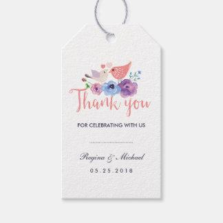 El favor floral del boda de los pájaros le etiquetas para regalos