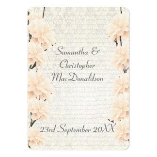 El favor floral del boda del melocotón pálido le tarjetas de visita grandes