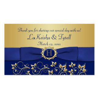 El favor floral del oro azul del monograma le tarjetas de visita