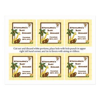 El favor marca a bebés de la selva con etiqueta tarjetas postales